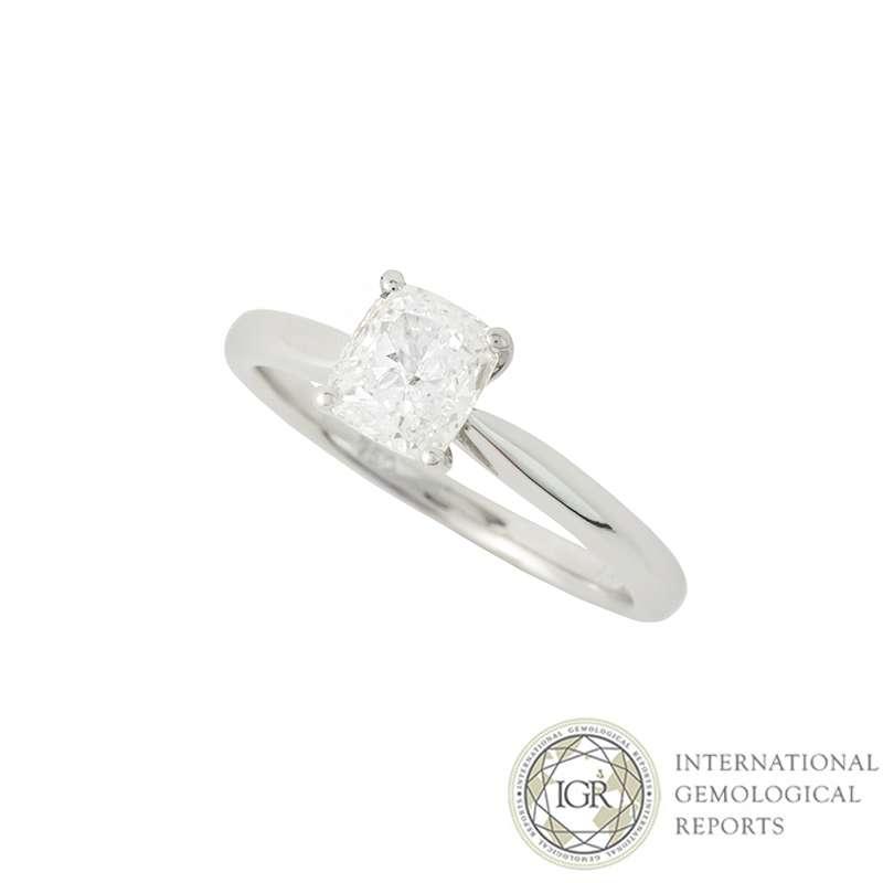 18k White Gold Cushion Cut Diamond Ring 0.91ct G/VS2